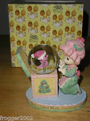 Precious Moments Christmas ~1999 WHITTLE GIRL WITH BIRD Waterball ~ORIGINAL Box