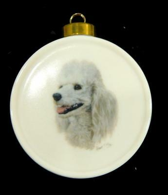 POODLE Dog Christmas Ornament Fine Porcelain Signed Robert May