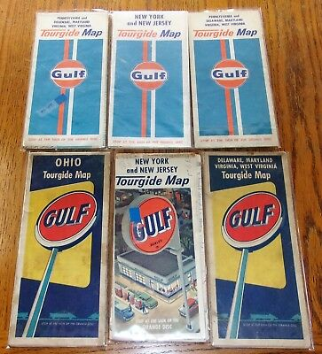 Vintage ~ GULF ~ Tourgide ~ Maps ~ Lot of 6