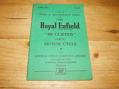 Replacement Parts List (Illustrated) for 1960 Royal Enfield 350cc O.H.V. Clipper