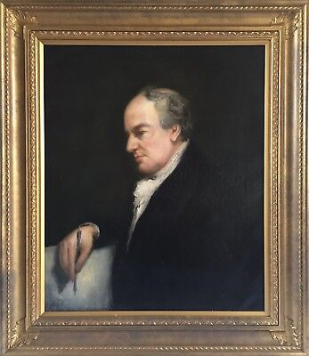 Fine Large 19th C Antique Oil Painting Portrait Of A Gentleman Writing