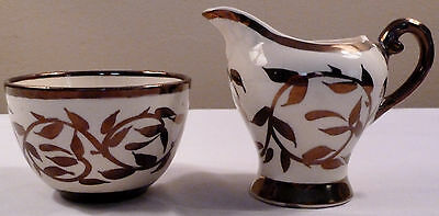 Antique Myott OLDE LUSTRE WARE copper vine and leaves mini sugar bowl & creamer