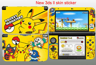 Pokemon Pikachu Skin Stickers For New Nintendo 3DS XL Console controller Decals