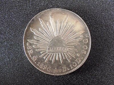 "Mexico  1896  Eight  Reale  ""cap  And  Rays"""