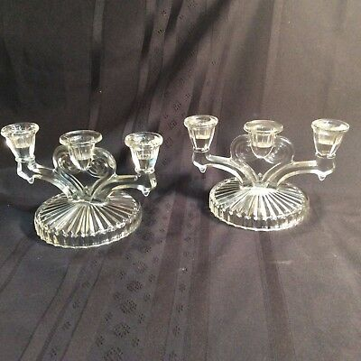 "Vintage pair, clear glass, 3-arm candle holders         (""ZZ""  M4)"