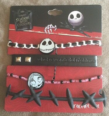 Disney The Nightmare Before Christmas Jack & Sally Stitches 4 Bracelet Set NWT!