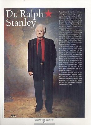 "Dr. Ralph Stanley, Country Music Star, 2014 Magazine Print Clipping, ""Bluegrass"""