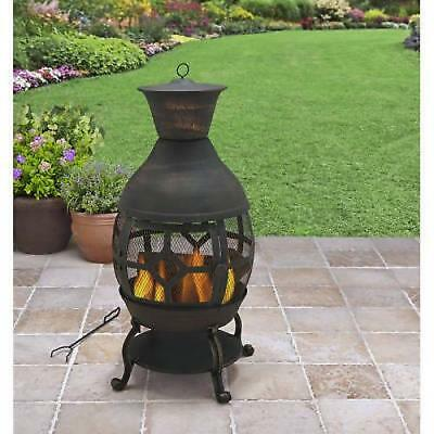 """Better Homes and Gardens 46"""" Tall Chiminea Antique Bronze Cast Iron Fire Pit"""