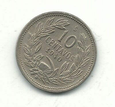 Very Nicely Detailed High Grade Au 1940 S Chile 10 Centavos Coin-Nov215