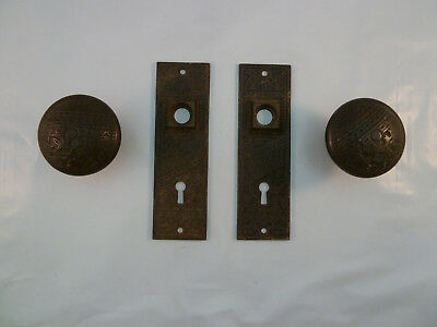 2 Brass Victorian Doorknobs & Escutcheons Backplate Eastlake Antique Set