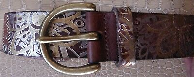 FOSSIL Genuine Leather BELT Studded Rivets Tan Brown Copper-tone Large