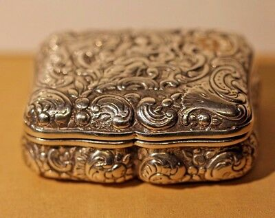 A Heavy Antique Dutch German Solid Silver Snuff Box Berthold Muller Chester 1899