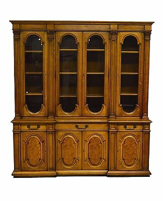 Karges 2pc Walnut China Cabinet Breakfront Bookcase