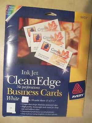 Avery #8871 Inkjet White Business Cards, Clean Edge, 18 Sheets Of 10