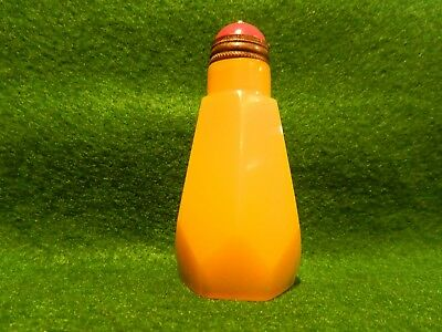 Antique Chinese Heavy Yellow Glass (Peking?) 6-Sided Snuff Bottle Vintage Asian