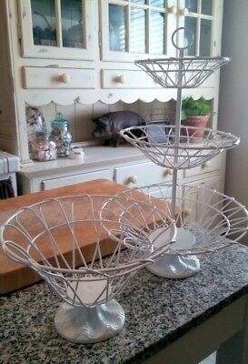 Vintage Set of 2 Distressed Shabby Chic White Painted Cast Iron Wire Basket