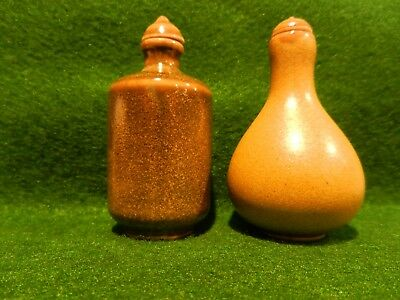 Lot of Two (2) Chinese Olive Green Ceramic Snuff Bottles Asian