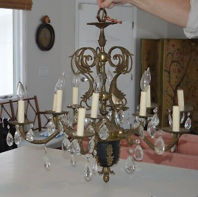 Antique Chandelier, Brass and black, with fern pattern and prisms Circa 1920's