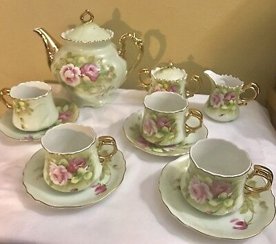 Vintage Lefton China Heritage Green Pink Roses Tea Set Hand Painted 11 Pieces