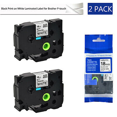 "2 PK TZe241 TZ241 3/4"" Black on White Label tape 18mm For Brother P-Touch Print"