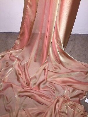 "10 Mtr Two Tone Orange Cationic Sheer Bridal Dress Chiffon Fabric 58"" Wide £25"