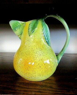 Vintage ANCORA, Italian Pottery, Glazed Ceramic, Pear-Shaped Pitcher, #10918