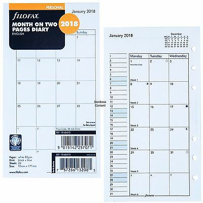 2018 Filofax Personal Size Refill, 18-68410 Month On Two Pages, 95mm x 171mm