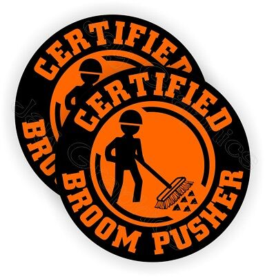Pair Funny Broom Pusher Hard Hat Stickers | Helmet Decals Sweeper Safety Labels