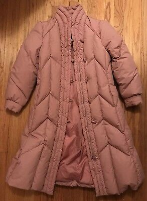 Vtg 80s/90s DOWN Feather Women's Fitted Puffy Jacket Long Coat w/ Cap Sleeves M