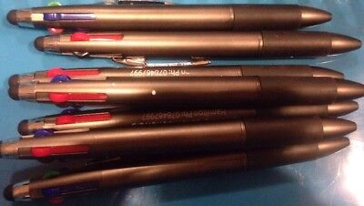 Lot Of 7 Misprint 4-Color Plastic Retractable Pens With Rubber Grip And Stylist