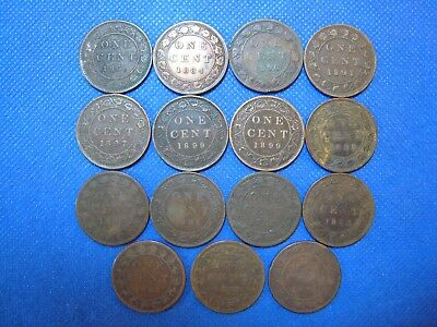 Lot of 15 Canada Victoria Large Cents Circulated Assorted Dates Conditions