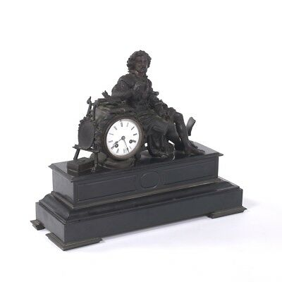 RARE Salon Size Antique Bronze French Mantle Clock Shakespeare Group Japy Freres