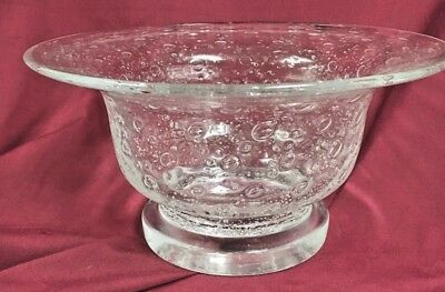 Vintage Clear Cluthra Glass Footed Bowl