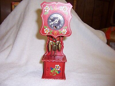 Mini made in West Germany Grandfather red w/flowers and key antique clock