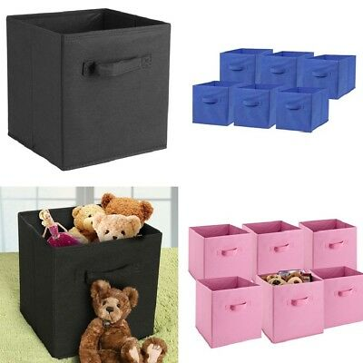 6 PCS Home Storage Bins Organizer Fabric Cube Boxes Basket DUAL DRAWER Container