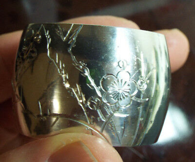 Chinese Silver Napkin Ring Beautiful Hand Engraving Vintage Very High Silver