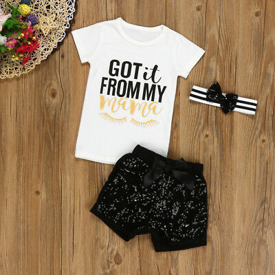 3PCS/Set Newborn Baby Girls Letter T shirt+Shorts Pants Headband Outfits Clothes