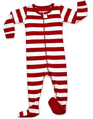 Leveret Christmas Striped Footed Pajama Sleeper 100% Cotton (Size 6M-5 Years)