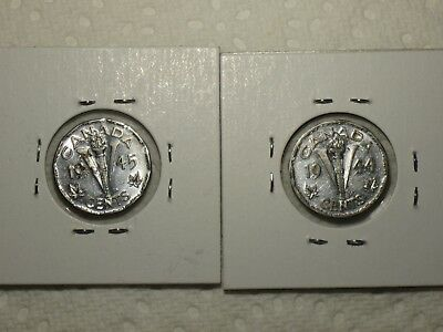 """1944 & 1945 5C Canada, MINTED DURING WORLD WAR TWO """"V-NICKELS"""""""