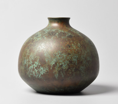 Japanese Bronze / Copper alloy Ikebana Vase by Tachikawa Zenji