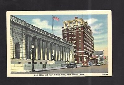 Vintage Postcard Post Office & New Bedford Hotel New Bedford Mass Old Cars