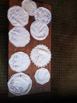 vintage embroided doilies x9