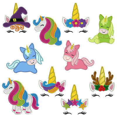 UNICORNS * Machine Applique Patterns 10 Designs,4 Sizes
