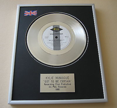 KYLIE MINOGUE Got To Be Certain PLATINUM SINGLE DISC PRESENTATION