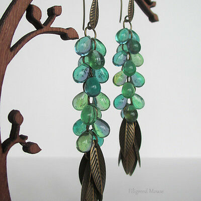 Tinkling long dangle Handmade Earrings Czech glass green drops & bronze leafs