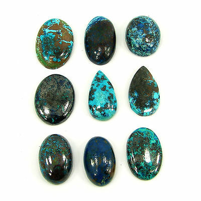 124.80 Ct Natural Blue Azurite Loose Designer Cab Gemstone Lot of 9 pcs - 14681