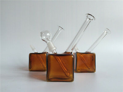 Mini water glass bongs Amber color square 10mm joint water bongs  pipes Hookahs