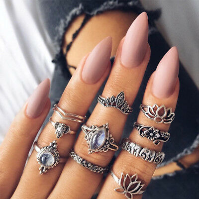 10PCS/Set Bohemian Crystal Elephant Lotus Finger Band Rings Stacking Midi Rings