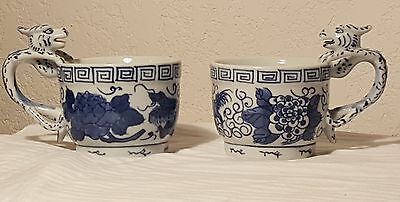 Vintage Handpainted Chinese Blue & White Dragon Handles Porcelain Cups Marked