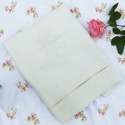 Vintage French Pure Linen Dowry Sheet with Embroidered Monogram